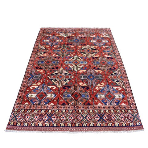 """Shahbanu Rugs Red Afghan Ersari Natural Dyes Tribal Design Pure Wool Hand Knotted Oriental Rug (5'3"""" x 6'6"""") - 5'3"""" x 6'6"""""""