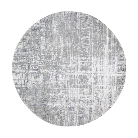 """Shahbanu Rugs Round Gray Wool And Silk Abstract Design Hand knotted Oriental Rug (8'2"""" x 8'2"""") - 8'2"""" x 8'2"""""""