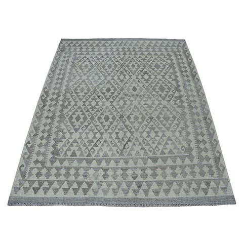 "Shahbanu Rugs Undyed Reversible Natural Wool Afghan Kilim Hand Woven Oriental Rug (5'3"" x 6'4"") - 5'3"" x 6'4"""