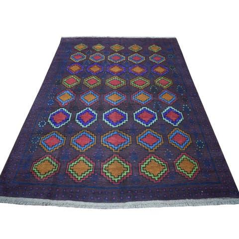 "Shahbanu Rugs Purple Geometric Design Colorful Afghan Baluch Hand Knotted Pure Wool Oriental Rug (5'10"" x 7'8"") - 5'10"" x 7'8"""