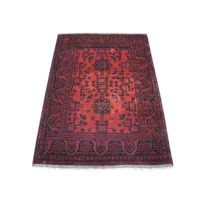 """Shahbanu Rugs Deep and Saturated Red Geometric Design Afghan Andkhoy Pure Wool Hand-Knotted Oriental Rug (3'6"""" x 4'7"""")"""