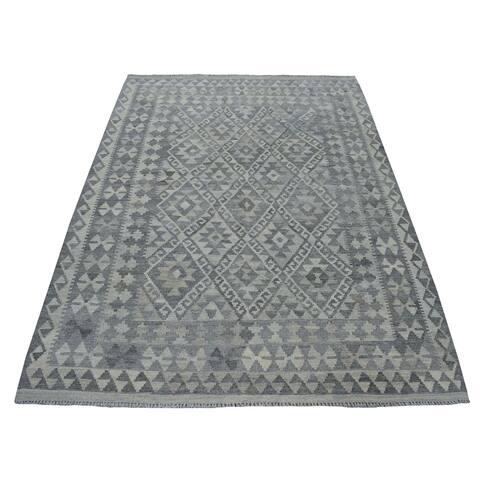 "Shahbanu Rugs Undyed Reversible Natural Wool Afghan Kilim Hand Woven Oriental Rug (5'0"" x 6'7"") - 5'0"" x 6'7"""