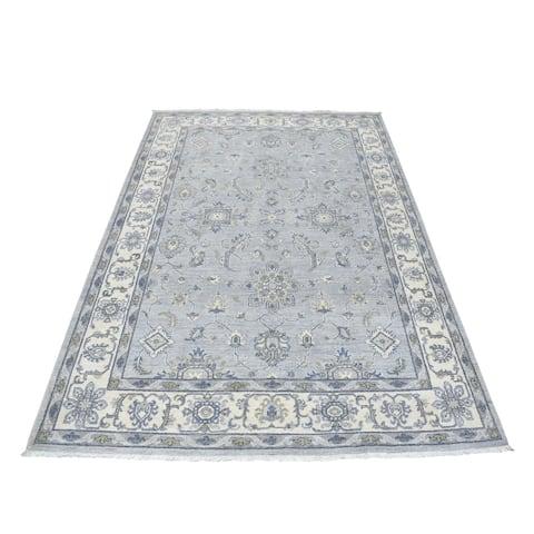 "Shahbanu Rugs White Wash Peshawar Mahal Design Pure Wool Hand Knotted Oriental Rug (5'5"" x 7'10"") - 5'5"" x 7'10"""