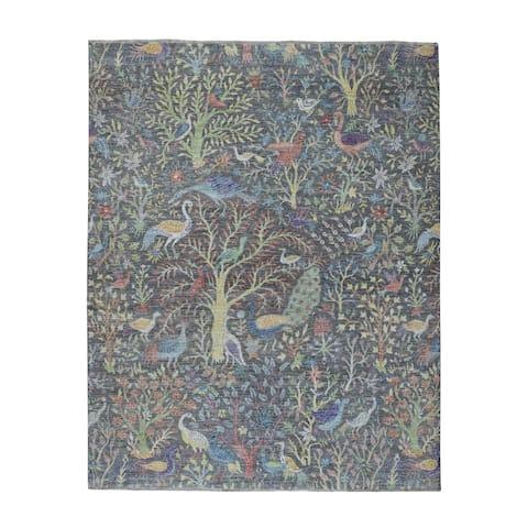 "Shahbanu Rugs Grey Birds of Paradise Peshawar Pure Wool Hand Knotted Oriental Rug (8'1"" x 9'2"") - 8'1"" x 9'2"""