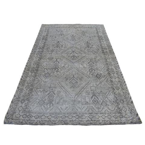 """Shahbanu Rugs Vintage and Worn Down Distressed Colors Persian Qashqai Hand Knotted Bohemian Rug (5'6"""" x 8'2"""") - 5'6"""" x 8'2"""""""