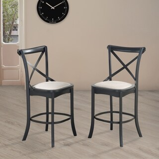 Nouvel X-Back 24-Inch Upholstered Counter Stool, Set of 2