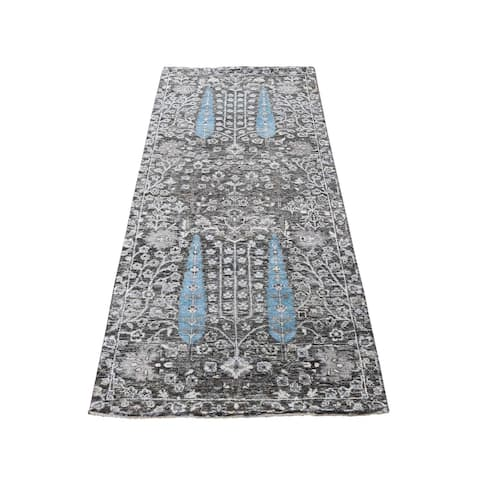 """Shahbanu Rugs Cypress Tree Design Silk with Textured Wool Hand Knotted Runner Oriental Rug (2'6"""" x 6'0"""") - 2'6"""" x 6'0"""""""