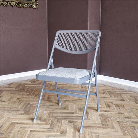 COSCO Ultra Comfort Commercial Fabric and Resin Mesh Folding Chair (2 or 4-pack)