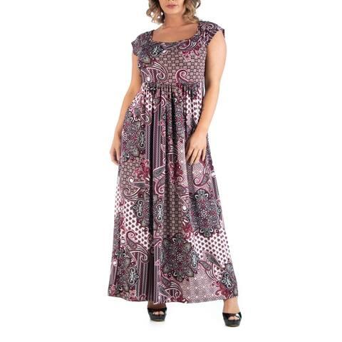 Empire Waist Plus Size Paisley Maxi Dress