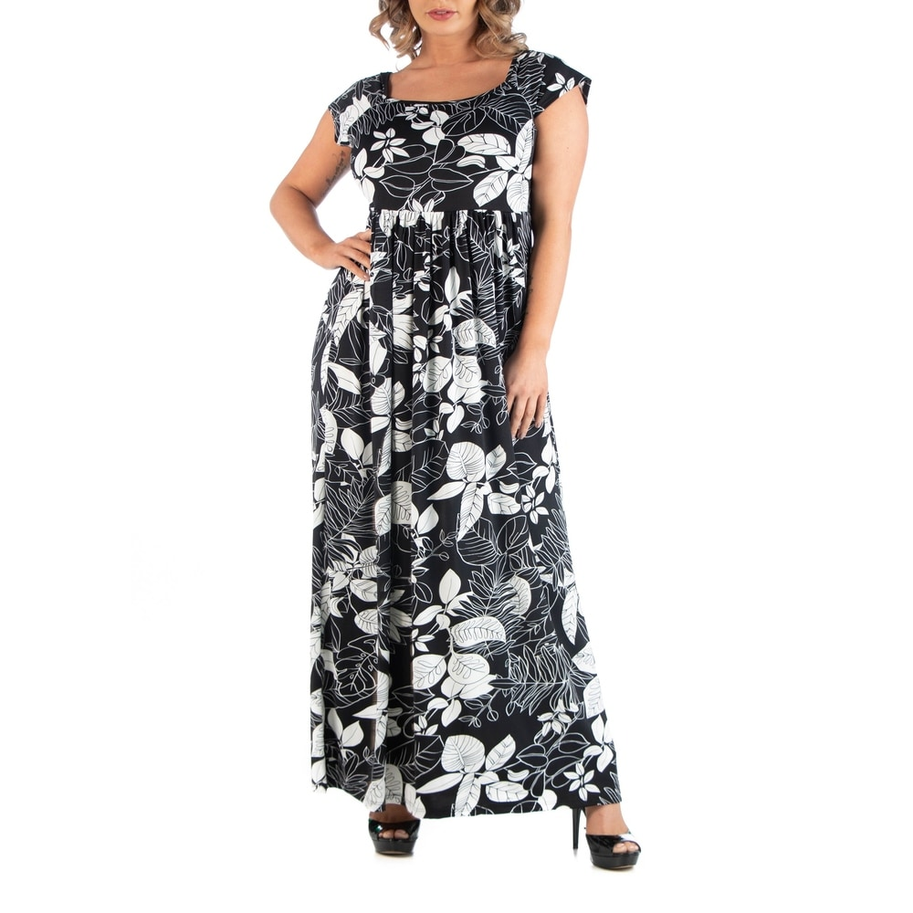 Plus Size Empire Waist Botanical Maxi Dress