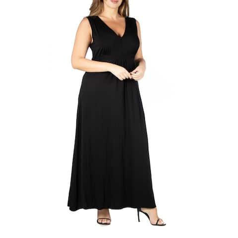 Sleeveless Empire Waist Plus Size Maxi Dress