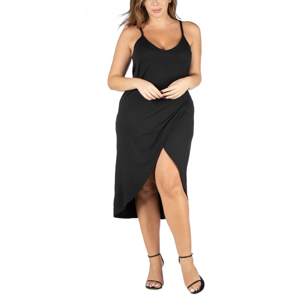Spaghetti Strap Plus size Midi Wrap Dress