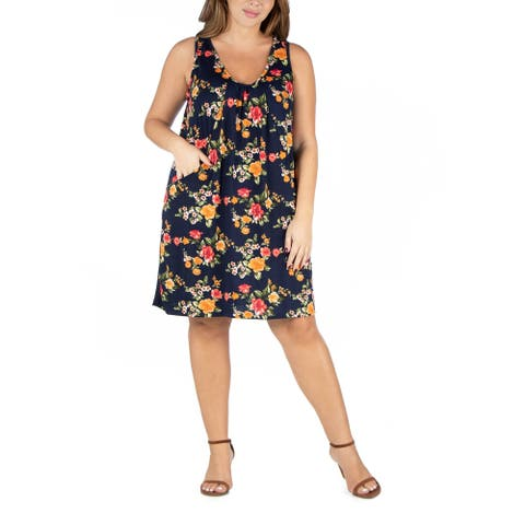 Floral Sleeveless Plus Size Mini Dress With Pockets