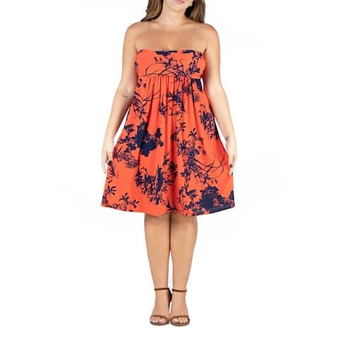 Orange Floral Print Strapless Plus Size Mini Dress