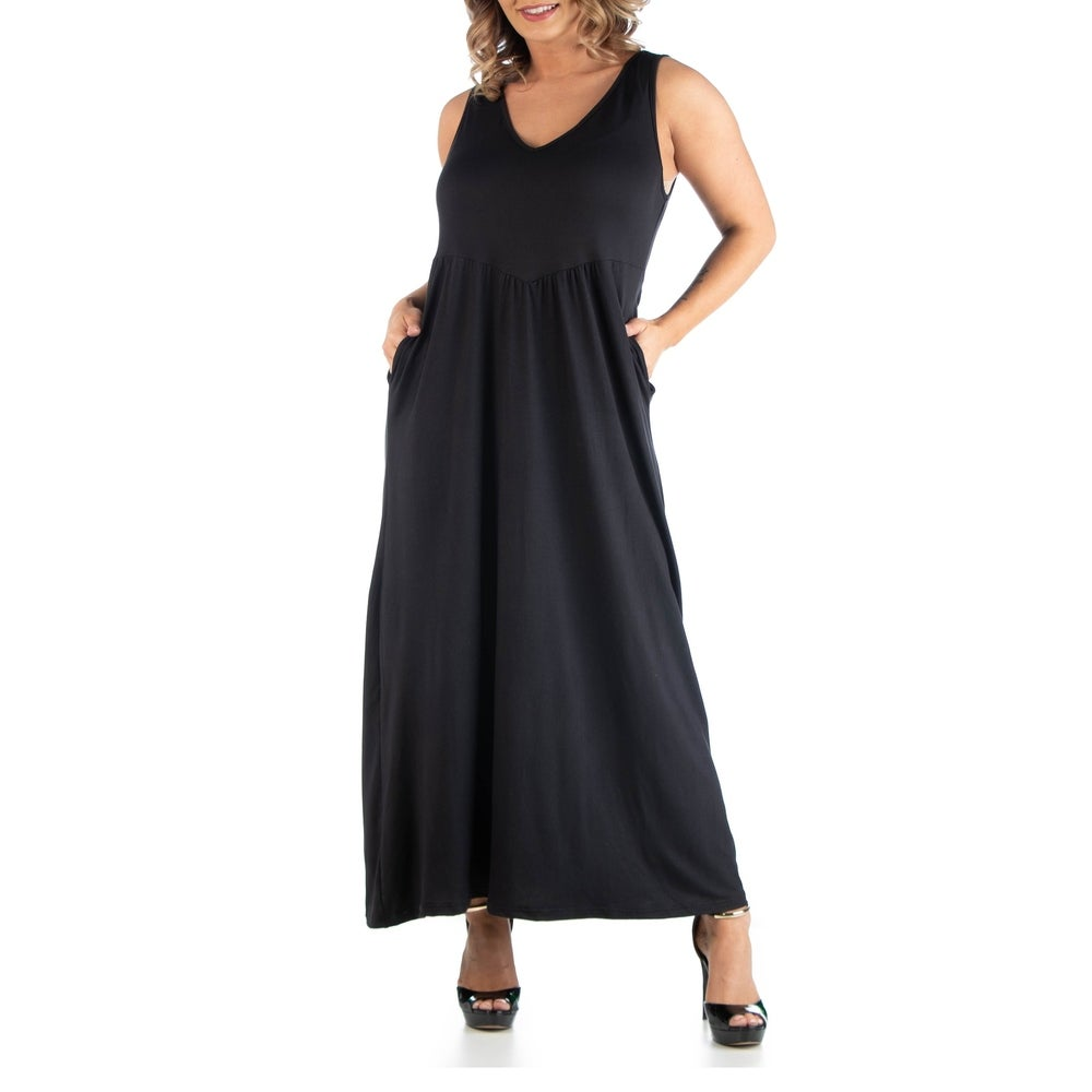 Maxi Plus Size Sleeveless Dress With Pockets by  Sale