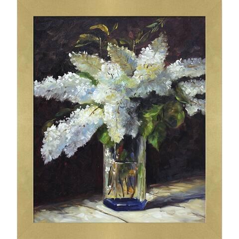 """La Pastiche Lilacs in a Vase with Semplice Specchio Frame, 24"""" x 28"""""""