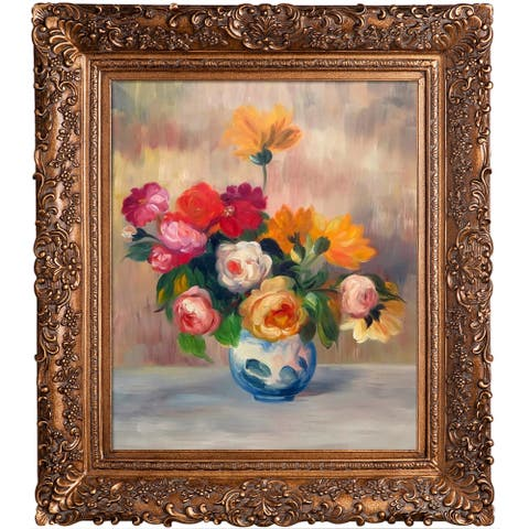 """La Pastiche Vase of Roses and Dahlias with Burgeon Gold Frame, 29.5"""" x 33.5"""""""
