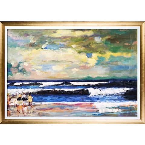 """La Pastiche On the Beach with Gold Luminoso with Studio White Custom Stacked Frame, 28.5"""" x 40.5"""""""