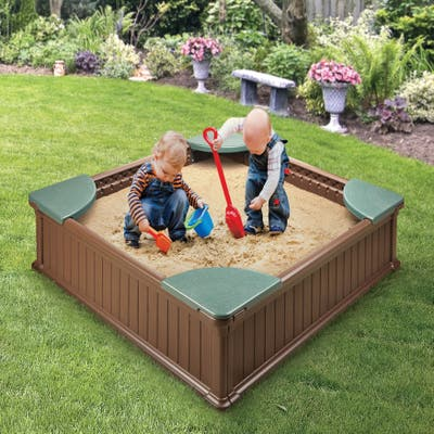 """Badger Basket Woodland 2-in-1 Sandbox and Garden Planter - 48.5"""" x 48.5"""" x 12"""""""