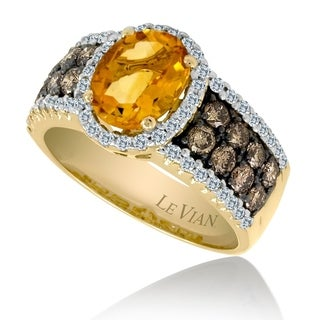 Encore by Le Vian Citrine & Chocolate Diamond 14K Yellow Gold Ring Size 7