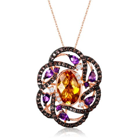 Encore by Le Vian Citrine & Amethyst 14K Rose Gold Pendant