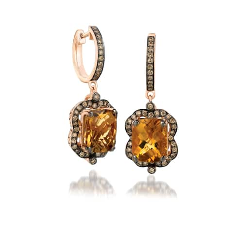 Encore by Le Vian Chocolate Diamond & Caramel Quartz 14K Rose Gold Earrings
