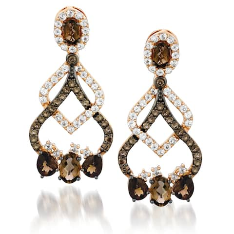 Encore by Le Vian Chocolate Quartz & Topaz Earrings 14K Rose Gold