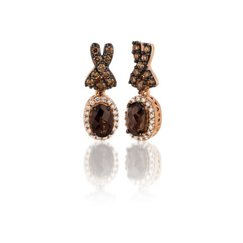 Encore by Le Vian Chocolate Diamond & Chocolate Quartz 14K White Gold Earrings