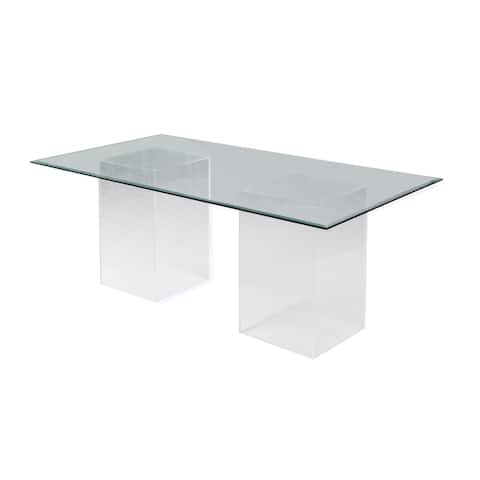 """Somette Valor 84"""" Rectangular Clear Glass Dining Table"""