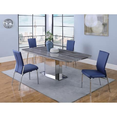 Somette Isabella Gray/Blue Marble 5-Piece Dining Set with Blue Chairs