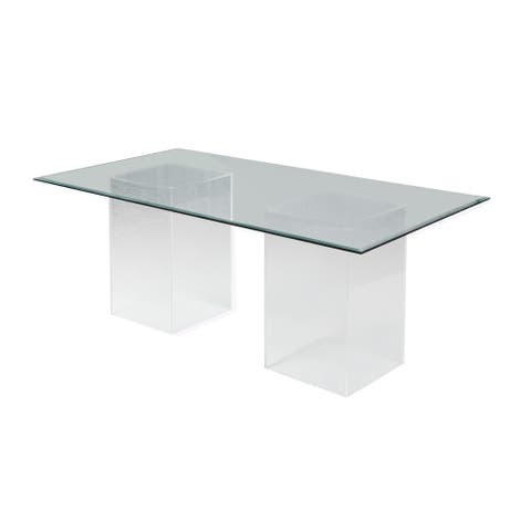 """Somette Valor 72"""" Rectangular Clear Glass Dining Table"""