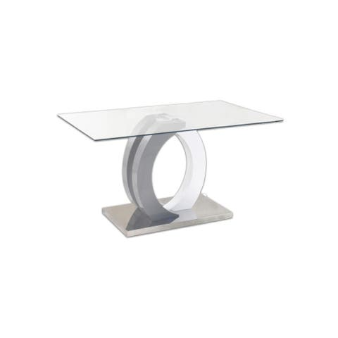 """Somette Becker Glass Top Dining Table - 35"""" x 59"""""""