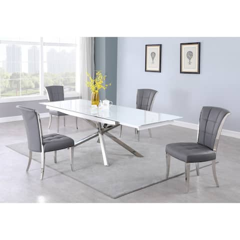 """Somette Aurelia Super White Starphire Glass Dining Table with Criss-Cross Base - 35"""" x 63"""""""