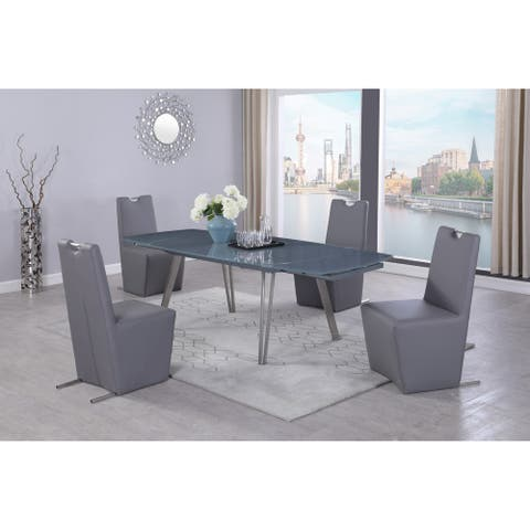 Somette Eva Extendable Gray Glass 5-Piece Dining Set