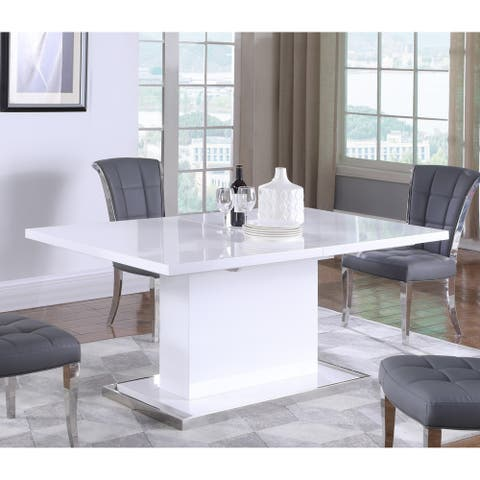 """Somette Kris Extendable Gloss White Wooden Dining Table - 39"""" x 63"""""""