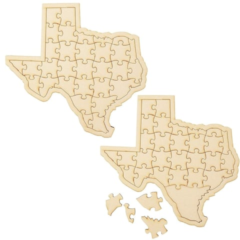 2 Pack Blank MDF Wooden Jigsaw Puzzle Texas Map for DIY Crafts Kids, 12 x 11 Inches