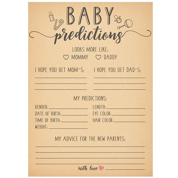 50x Kraft Baby Shower Predictions and Advice Cards for Boys Girls 5 x 7 Inches - Brown. Opens flyout.