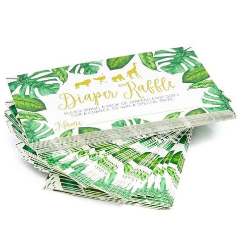 60x Baby Shower Diaper Raffle Tickets Lottery Insert Cards Boys Girls Jungle - Green