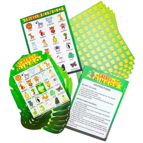 36 Pack Safari Jungle Party Bingo Game Cards Set for Kids Birthday Baby Shower Party Supplies Favors Decorations - Green