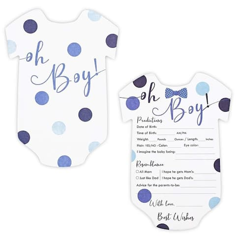 """50-Pack Baby Boy Shower Predictions and Advice Cards Games for Boys, 5"""" x 7"""" - Blue"""