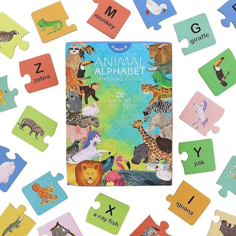 26 Pack Animal Alphabet Matching Word Game Waterproof Educational Toy Aged 5-7, FUN Learning Letters and Animals