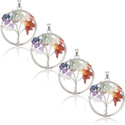 4x Tree of Life Chakra Pendant Charm Women Jewelry Making Necklace Earrings 1.2""
