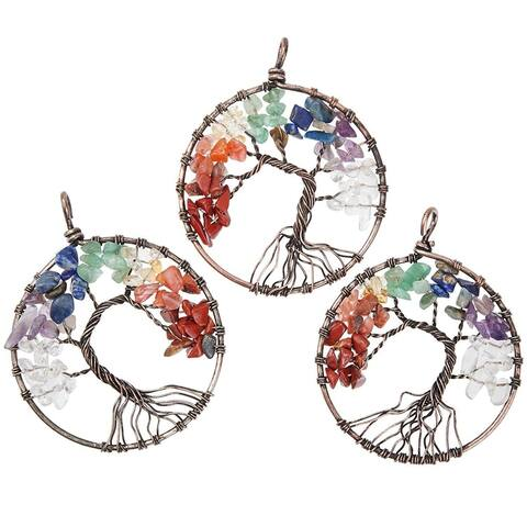 3x Copper Tree of Life Chakra Pendant Charm Women Jewelry Making Necklace 2""