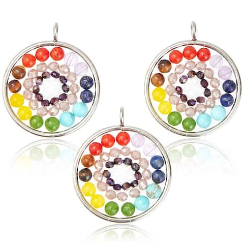 3x Round Chakra Pendant Charm Women Jewelry Making Necklace Earrings 1.2""