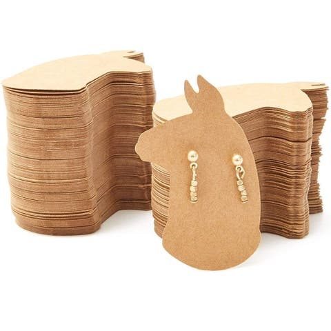 """300 Pack Llama Shaped 2.5 x 1.6 in Earring Holder Cards for Display Jewelry Bulk - Brown - 2.5""""X1.6"""""""