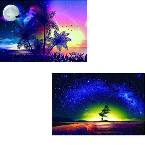 "DIY 5D Diamond Painting Kit for Adults with 2 Full Drill Canvases Beach Sunset - Blue - 16""x12"""