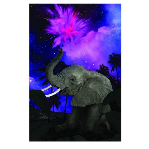 "DIY 5D Diamond Painting Kit for Adults with 1 Full Drill Canvases Tools Elephant - Purple - 14""x20"""