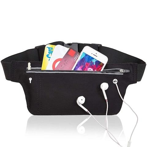 Black Running Belt Waist Bag Pack for Men Women Travel Pouch Bag Waterproof