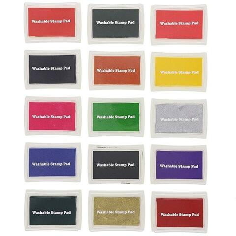 15 Colors Craft Stamp Ink Finger Pad for Kids Rubber Stamps Paper Scrapbooking