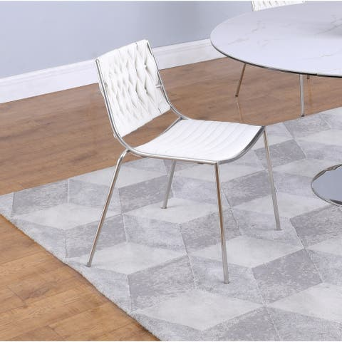 """Somette Trevor White Stackable Side Chair with Weave Back, Set of 4 - 23.5"""" x 22"""" x 31.5"""""""